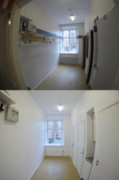 """Referensjobb """"Målning hall kontor, före och efter bild. """" utfört av Mineur fastigheter AB"""