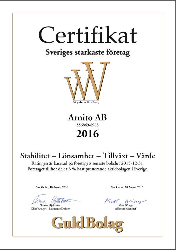 """Referensjobb """"Certifikat Sveriges Starkaste företag"""" utfört av Arnito Bygg och Måleri AB"""