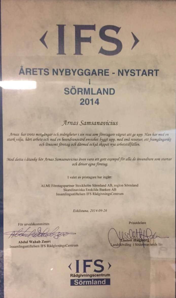 """Referensjobb """"Årets Nybyggare Diplom"""" utfört av Arnito Bygg och Måleri AB"""