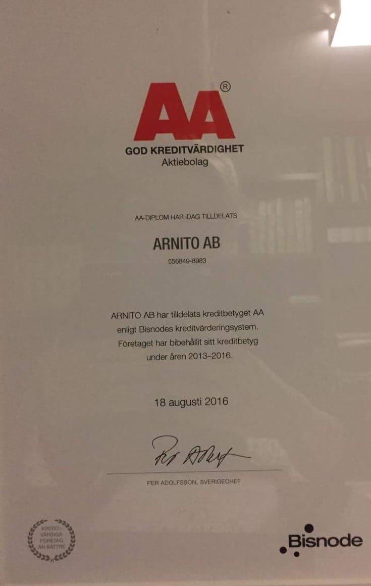 """Referensjobb """"God kreditvärdighet"""" utfört av Arnito Bygg och Måleri AB"""