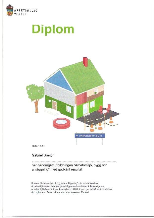 """Referensjobb """"Certifikat"""" utfört av Ekeby Renovering & Fastighetsservice"""