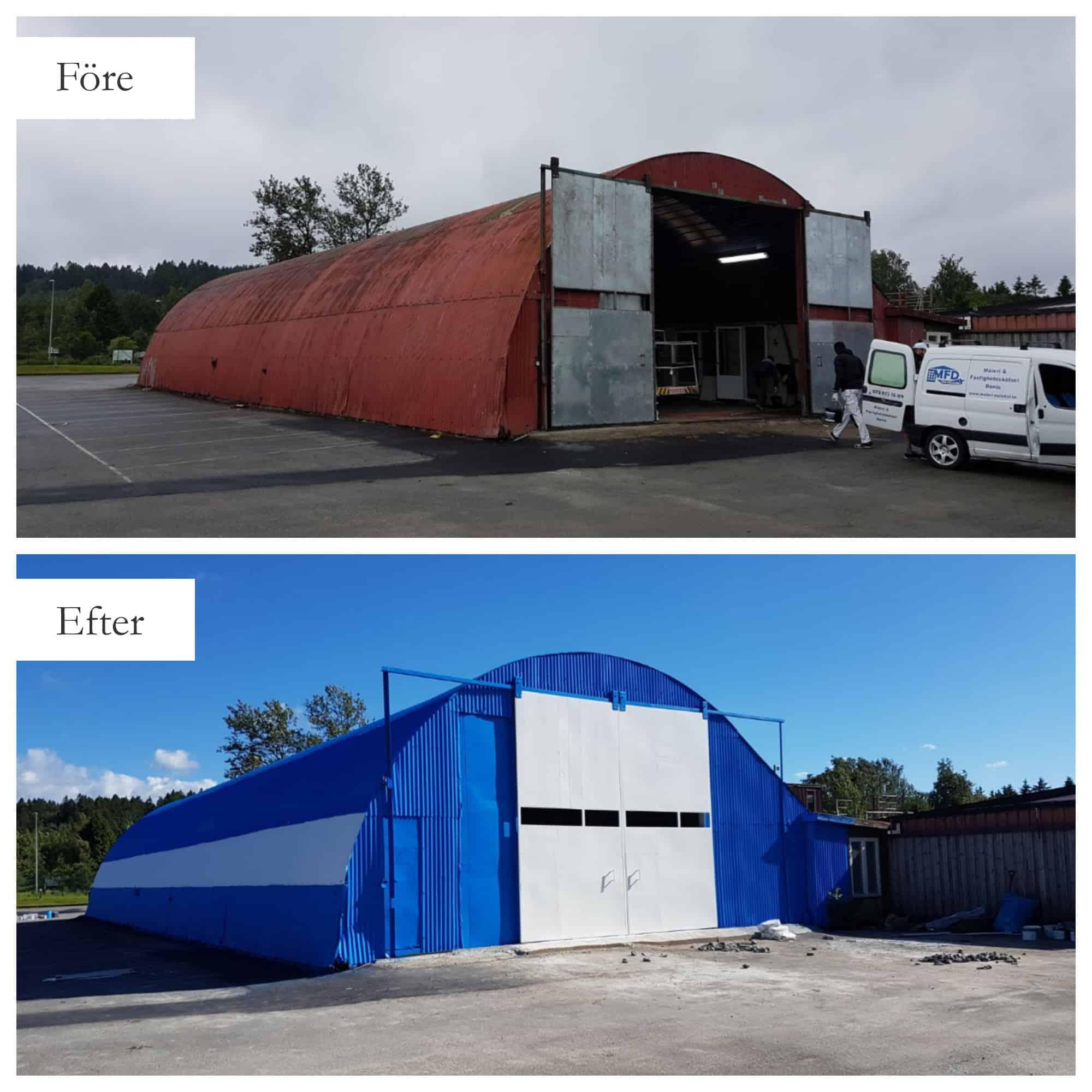 """Referensjobb """"Målning av plåtfasad (industribyggnad) """" utfört av MFD (Måleri och Fastighetsskötsel Denis)"""