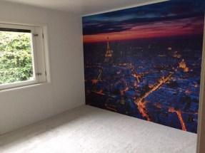 """Referensjobb """"Inomhusrenovering av flera rum (nytt tak, heltäckningsmatta, nya väggar samt fondvägg)"""" utfört av MFD (Måleri och Fastighetsskötsel Denis)"""