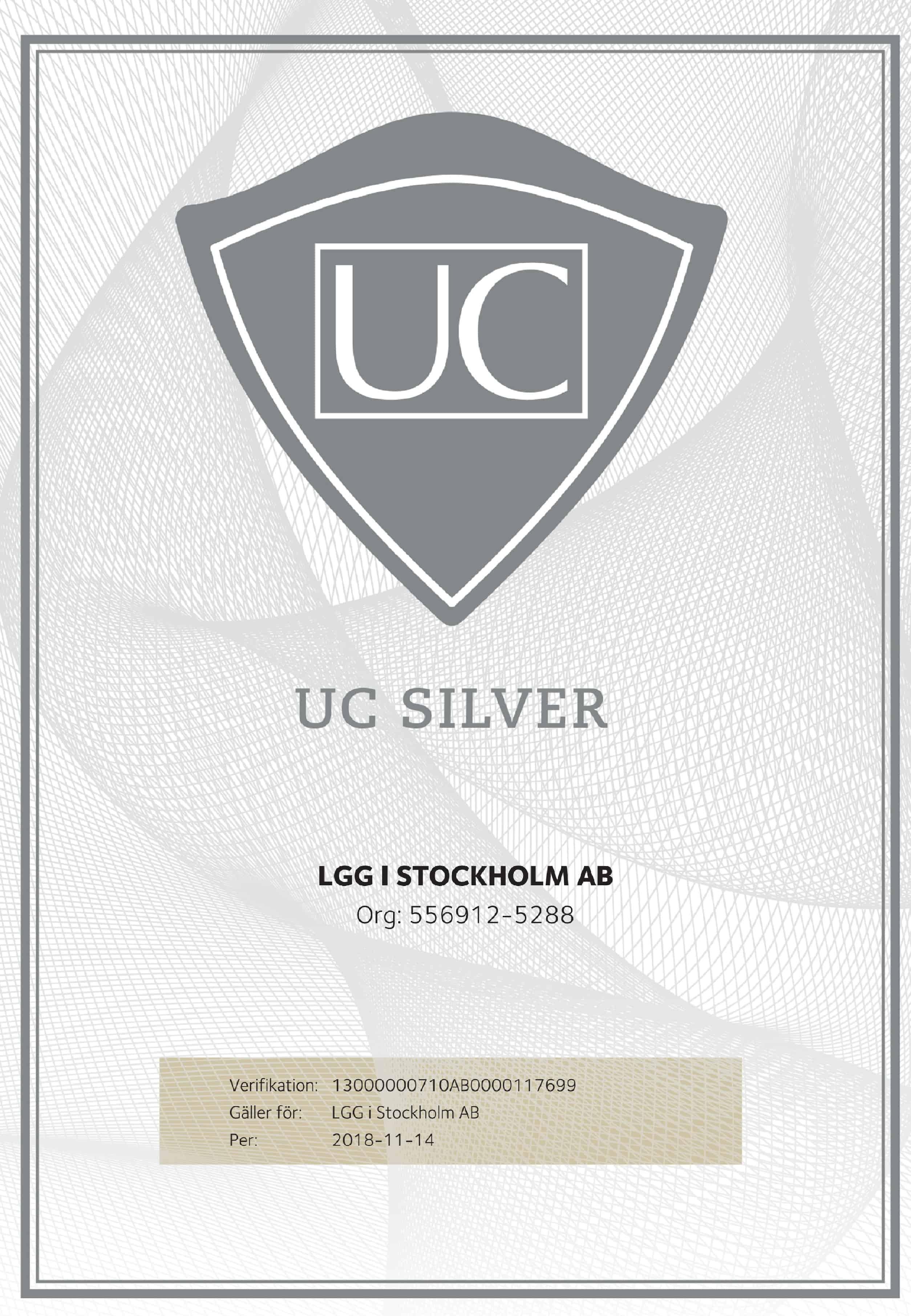 """Referensjobb """"UC - Kreditvärdighet"""" utfört av LGG i Stockholm AB"""