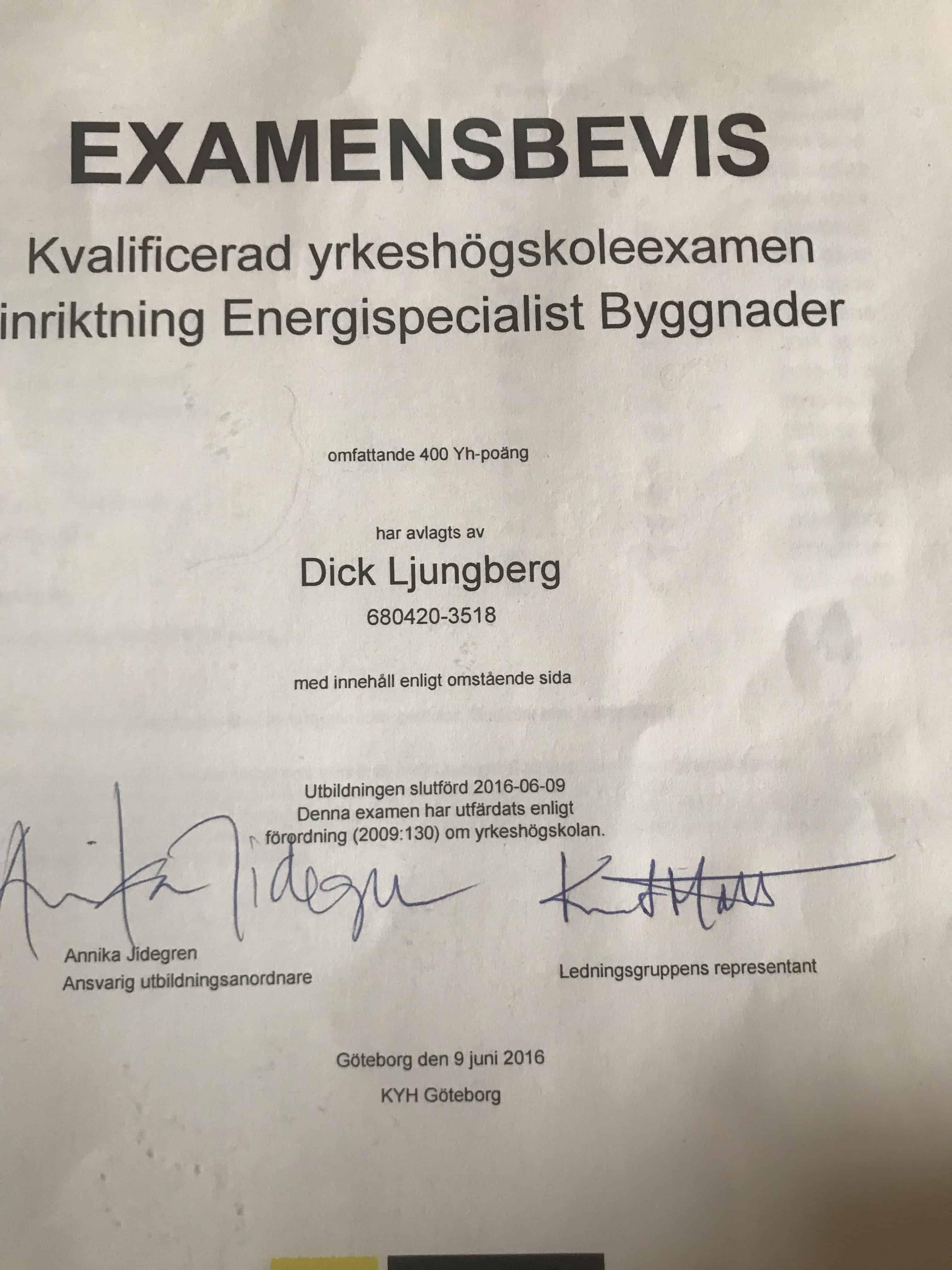"""Referensjobb """"Examensbevis """" utfört av Boråsvärmeinjustering"""