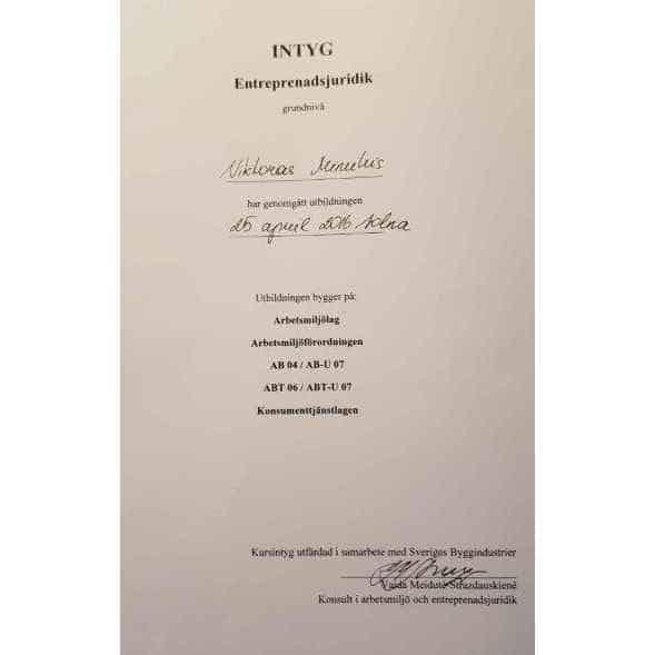 """Referensjobb """"Diplom"""" utfört av West Trade Corporation Stockholm AB"""