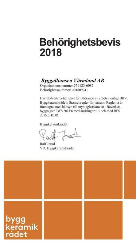 """Referensjobb """"BKR"""" utfört av Byggalliansen i Värmland AB"""