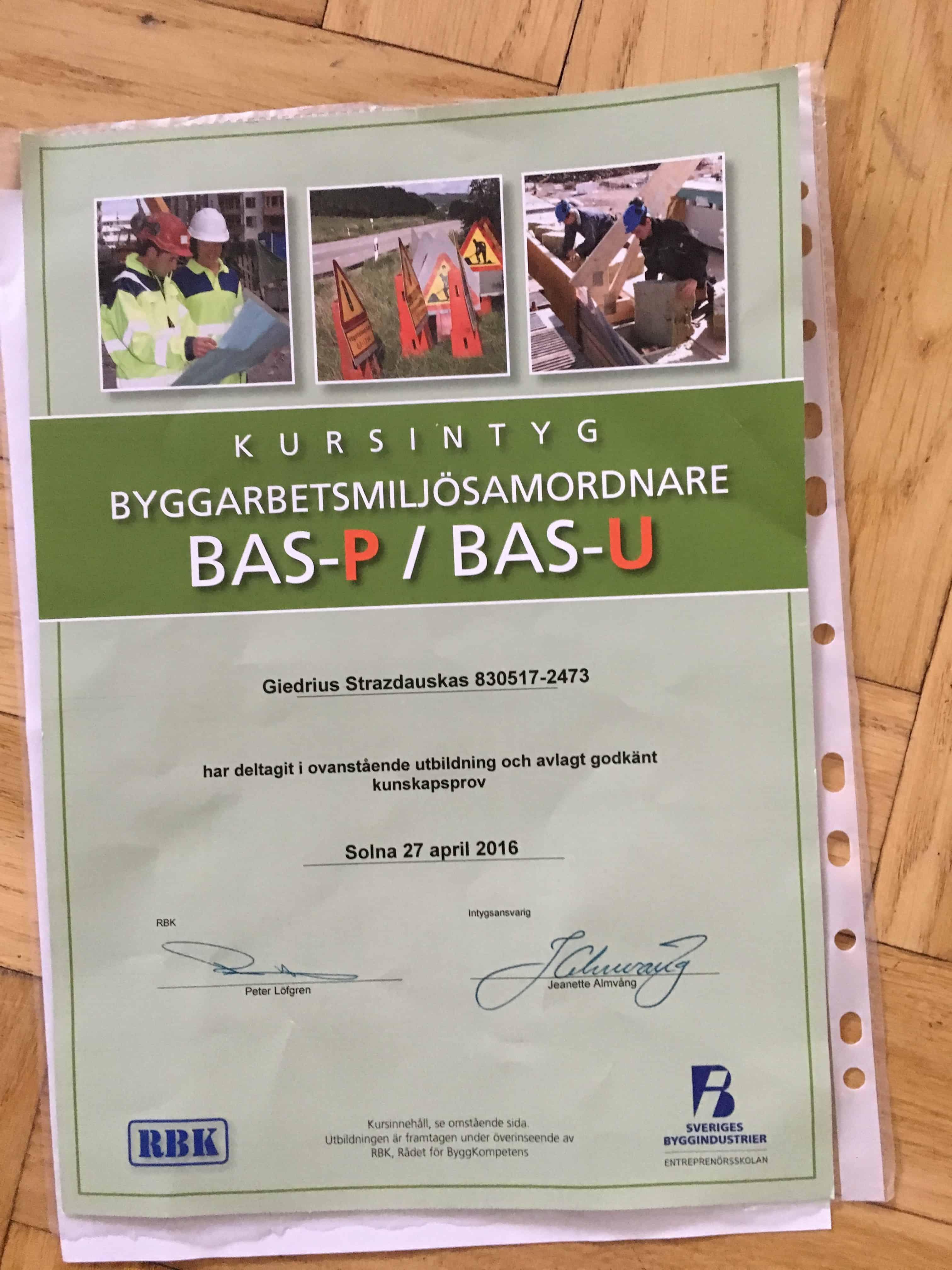 """Referensjobb """"Utbildad BAS P/U """" utfört av Argi bygg och måleri AB"""